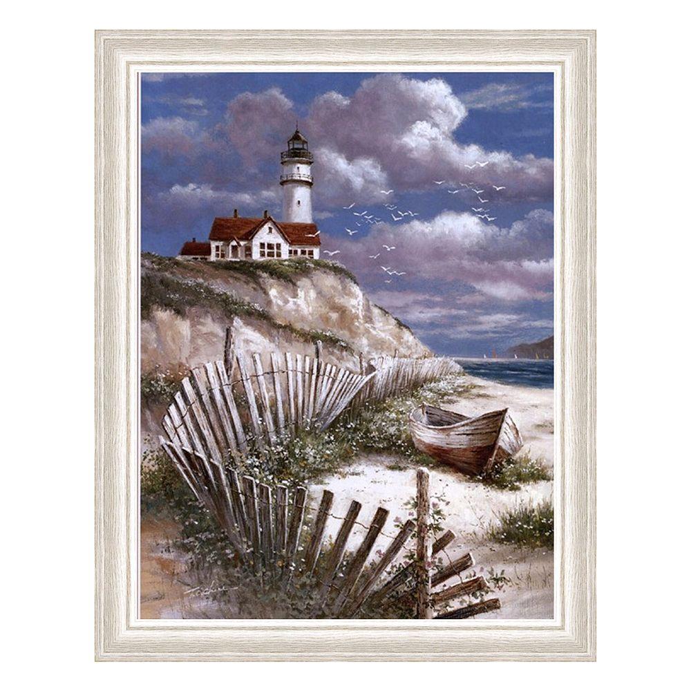 """Lighthouse with Deserted Canoe"" Framed Art Print by T.C. Chiu"