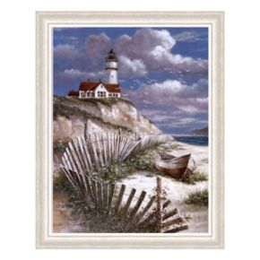 Lighthouse with Deserted Canoe Framed Art Print by T.C. Chiu