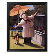 Barbecue Chef and Dog Framed Art Print by T.C. Chiu