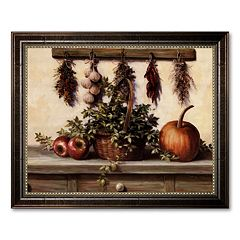 'Hanging Dried Herbs' Framed Canvas Art by T.C. Chiu