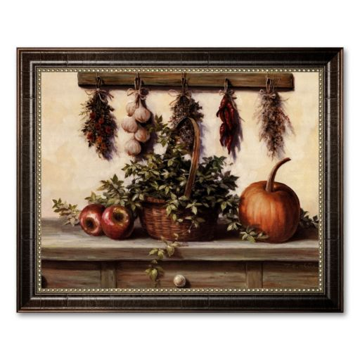 Hanging Dried Herbs Framed Canvas Art by T.C. Chiu