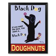 Black Dog Doughnuts Framed Art Print by Ken Bailey