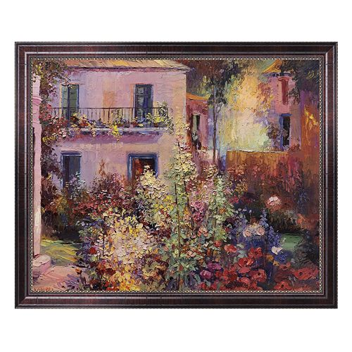 Balcony with Flowers Framed Canvas Art by La Foret