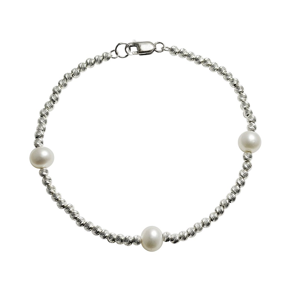 Sterling Silver Freshwater Cultured Pearl Beaded Station Bracelet