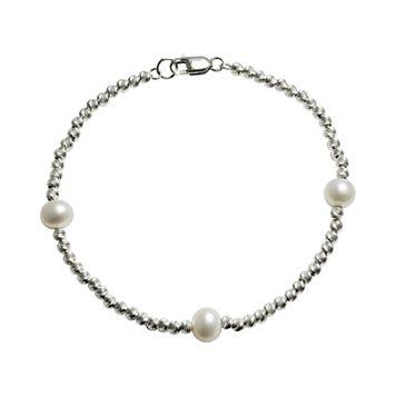 Sterling Silver Freshwater Cultured Pearl Beaded Station Bracelet