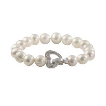 Sterling Silver 1/10-ct. T.W. Diamond & Freshwater Cultured Pearl Heart Bracelet