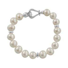 Sterling Silver 1/10-ct. T.W. Diamond and Cultured Freshwater Pearl Bracelet