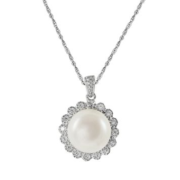 Sterling Silver Freshwater Cultured Pearl & Diamond Accent Floral Pendant