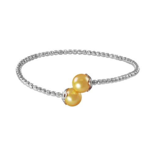 Sterling Silver and Stainless Steel Golden South Sea Cultured Pearl Bead Cuff Bracelet