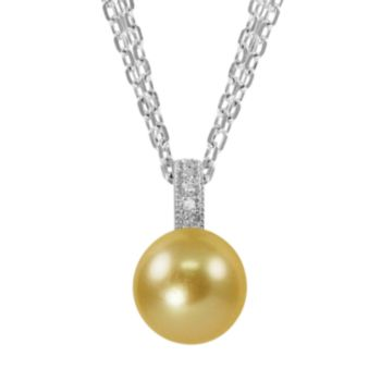 Sterling Silver Golden South Sea Cultured Pearl and Diamond Accent Multistrand Pendant