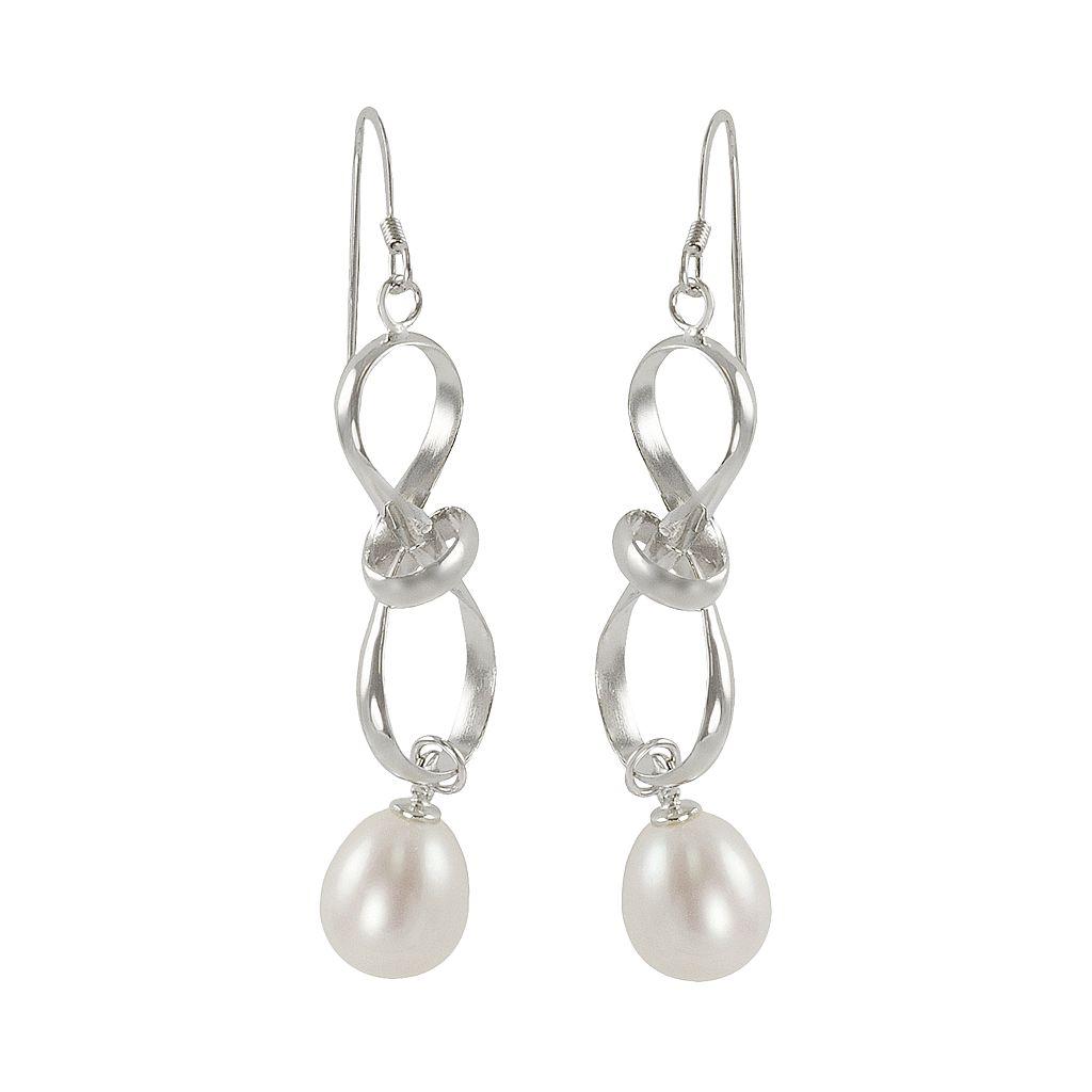 Sterling Silver Freshwater Cultured Pearl Twist Drop Earrings