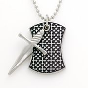 Sanctify Stainless Steel Cross Dog Tag Necklace - Men