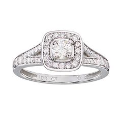 Cherish Always Round-Cut Diamond Frame Engagement Ring in 10k White Gold (3\/4 ct. T.W.) by