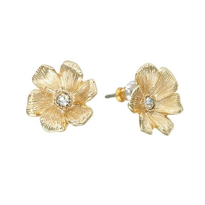 LC Lauren Conrad Gold Tone Simulated Crystal Floral Stud Earrings
