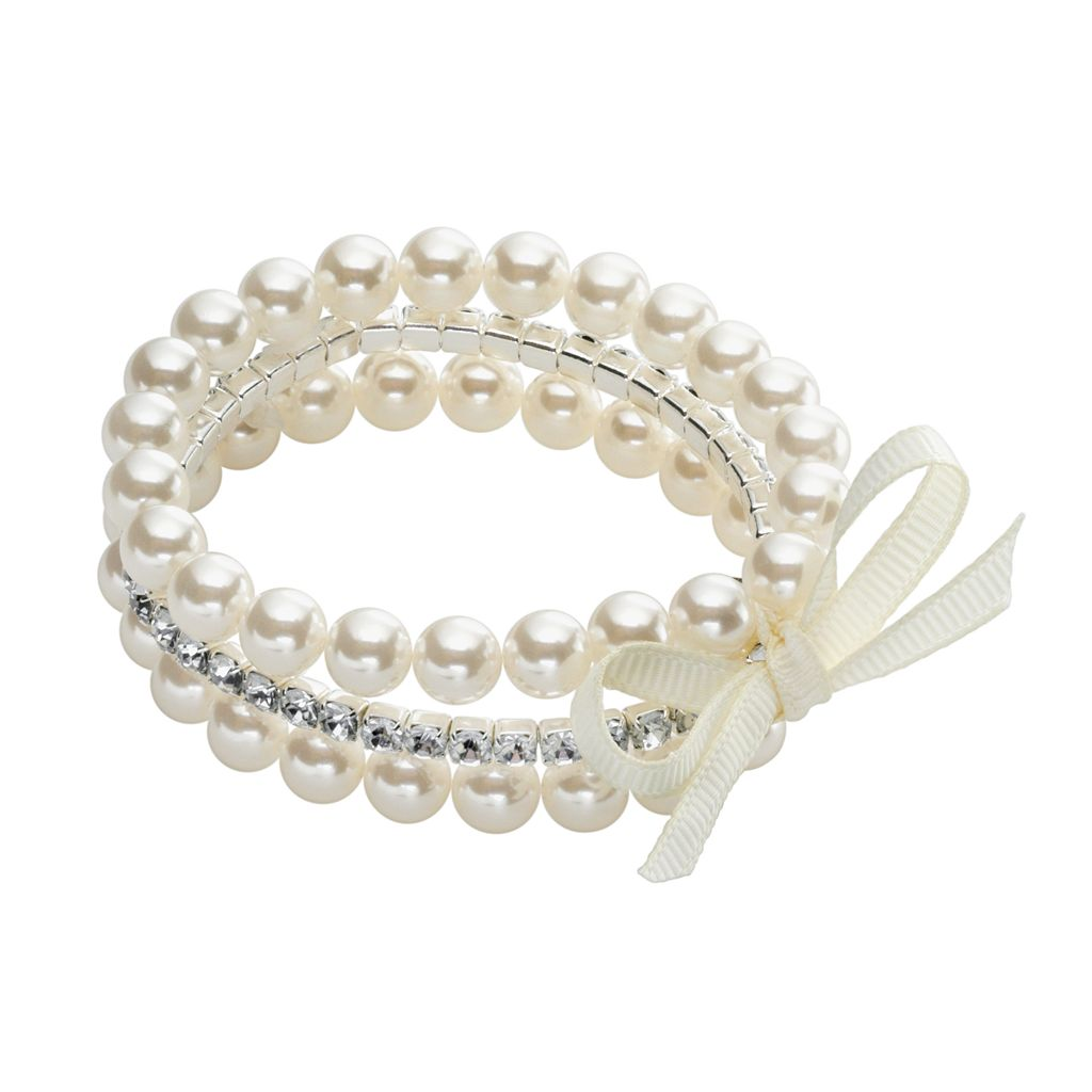Silver-Tone Simulated Pearl & Simulated Crystal Stretch Bracelet Set