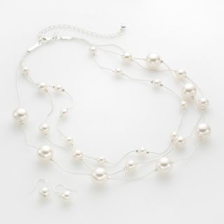 Silver Tone Simulated Pearl Multistrand Necklace and Drop Earring Set