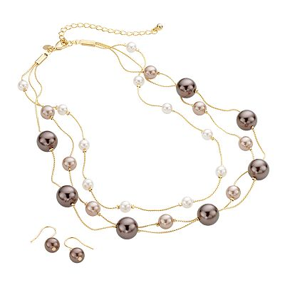 Croft and Barrow Gold Tone Simulated Pearl Multistrand Necklace and Drop Earring Set