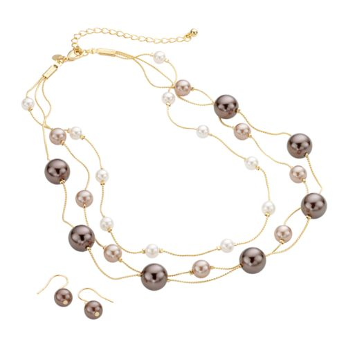 Croft & Barrow® Gold Tone Simulated Pearl Multistrand Necklace and Drop Earring Set