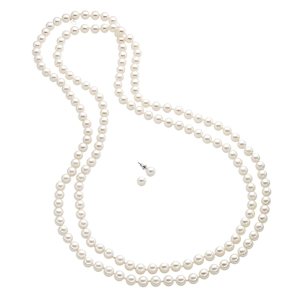 Silver Tone Simulated Pearl Long Necklace & Stud Earring Set