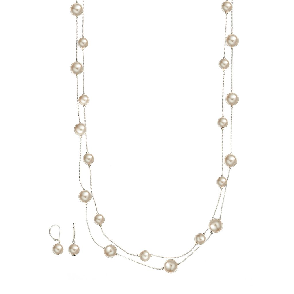 Silver Tone Simulated Pearl Long Multistrand Station Necklace & Drop Earring Set