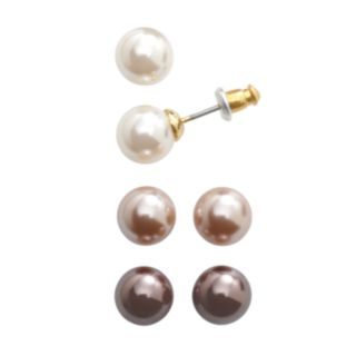 Gold-Tone Simulated Pearl Stud Earring Set