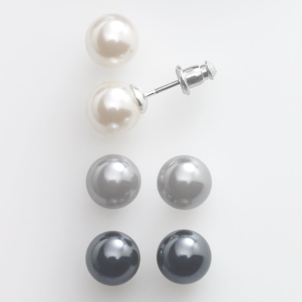 Silver-Tone Simulated Pearl Stud Earring Set