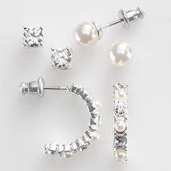 Silver-Tone Simulated Crystal & Simulated Pearl Stud & Hoop Earring Set