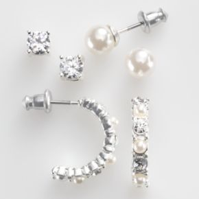 Silver-Tone Simulated Crystal and Simulated Pearl Stud and Hoop Earring Set