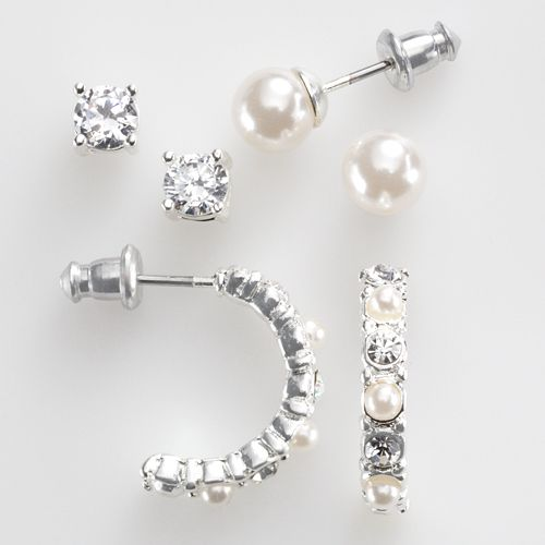 Silver-Tone Simulated Crystal & Simulated Pearl Stud & Hoop Earring Set