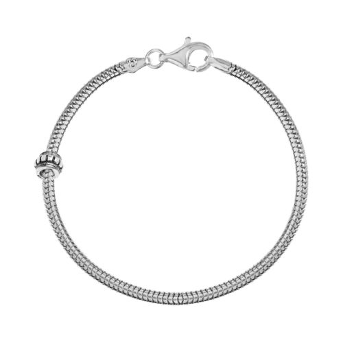 Individuality Beads Sterling Silver Snake Chain Bracelet and Stopper Bead Set - 8 1/2-in.