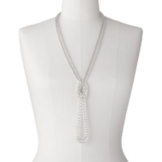 Silver Tone Mesh Long Multistrand Lariat Necklace