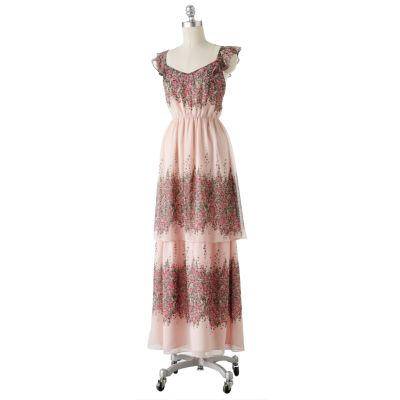 LC Lauren Conrad Floral Tiered Maxi Dress