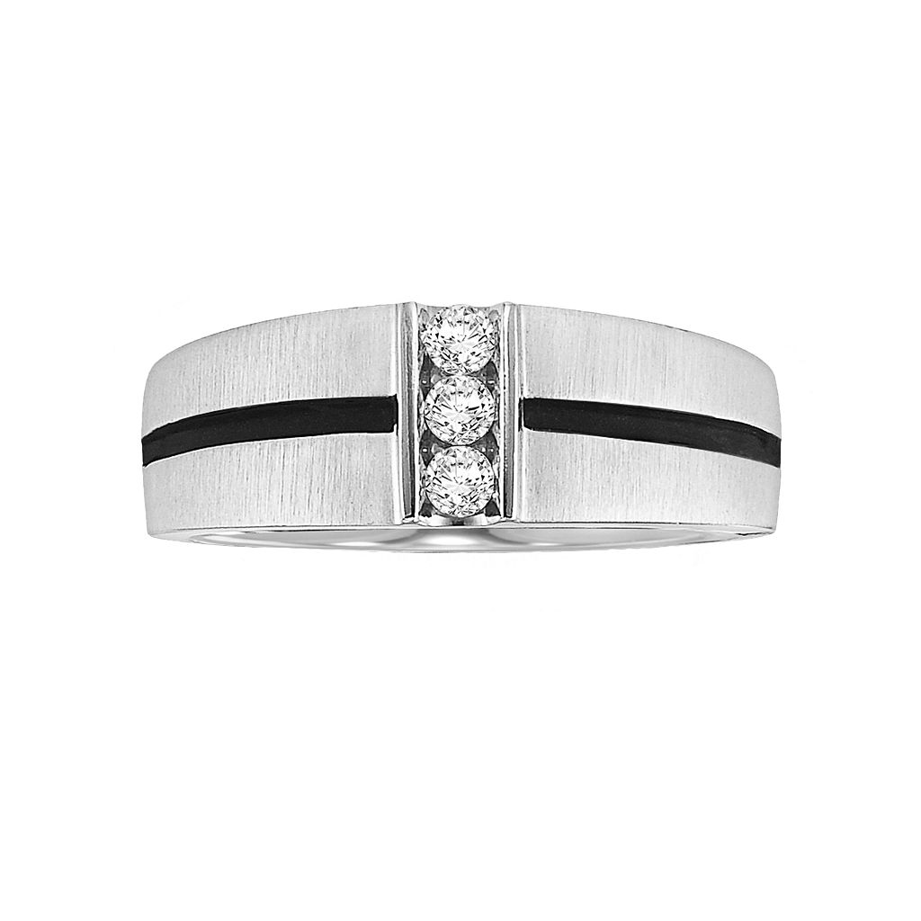 Cherish Always Stainless Steel 1/5-ct. T.W. Diamond Striped Wedding Ring - Men
