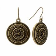 SONOMA life + style Gold-Tone Disc Drop Earrings