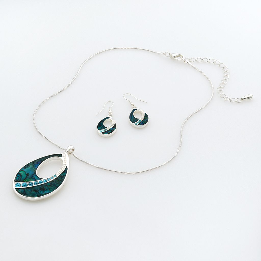 Silver-Tone Simulated Crystal Teardrop Pendant & Drop Earring Set