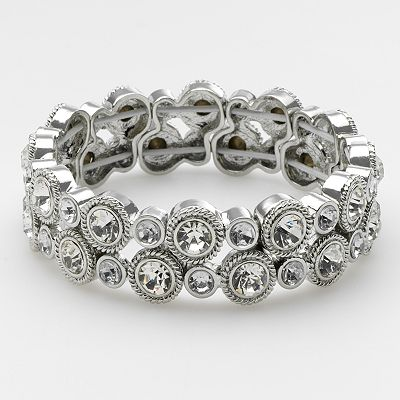 Trifari Pearlessence Silver Tone Simulated Crystal Stretch Bracelet