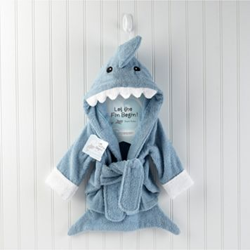Baby Aspen Let the Fin Begin Terry Shark Robe - Newborn