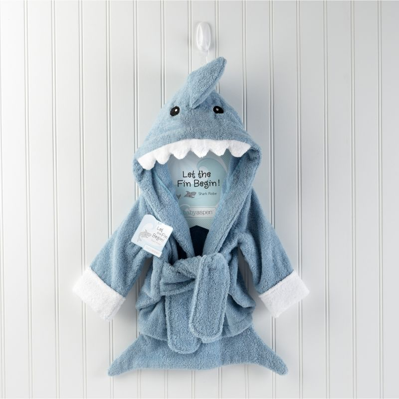Baby Aspen Let the Fin Begin Terry Shark Robe - Newborn, Infant Boy's, Size: 0-6 Months, Blue
