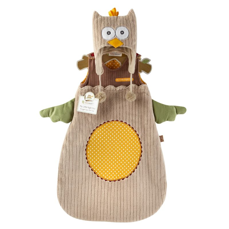 Baby Aspen My Little Night Owl Snuggle Sack and Cap Gift Set - Newborn, Infant Unisex, Size: 0-6 Months, Brown