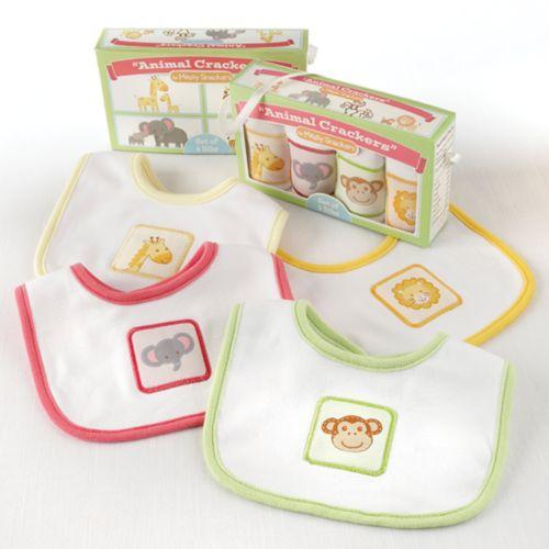 Baby Aspen Animal Crackers for Messy Snackers Bib Gift Set - Newborn