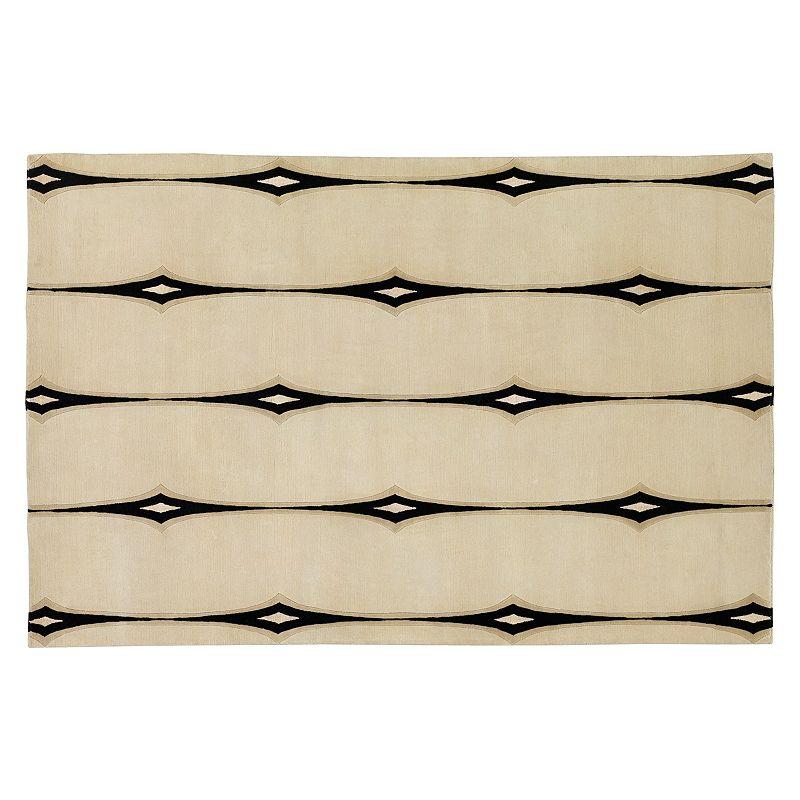 Decor 140 Luminous Striped Wool Blend Rug, White, 5X8 Ft
