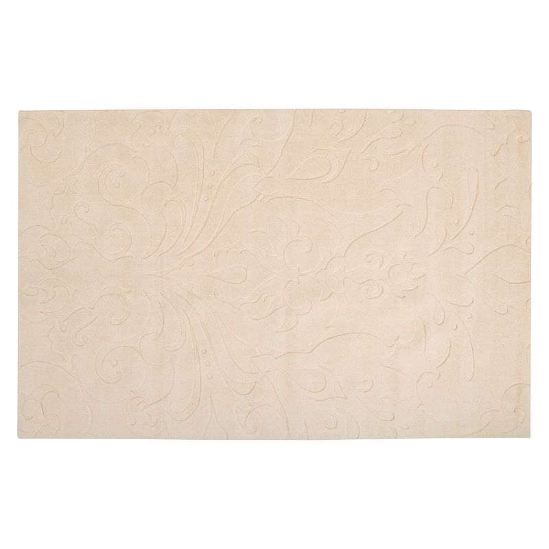 Decor 140 Sculpture Floral Rug, White, 8X11 Ft