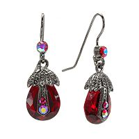 1928 Jet Simulated Crystal Beaded Teardrop Earrings
