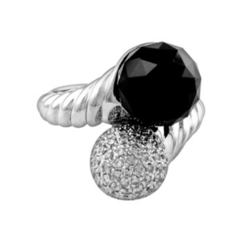 Sterling Silver 1/2-ct. T.W. Diamond and Onyx Twist Bypass Ring
