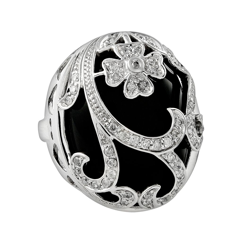 Sterling Silver 1/2-ct. T.W. Diamond & Onyx Floral Filigree Ring
