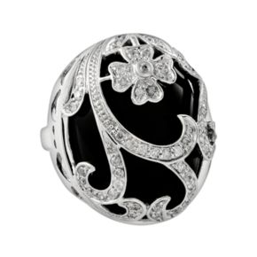 Sterling Silver 1/2-ct. T.W. Diamond and Onyx Floral Filigree Ring