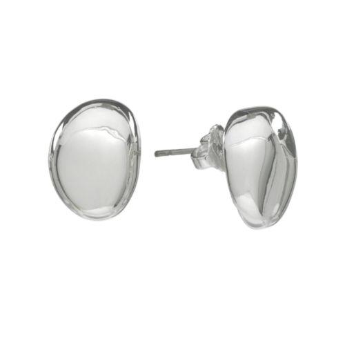 Chaps Silver Tone Beaded Stud Earrings