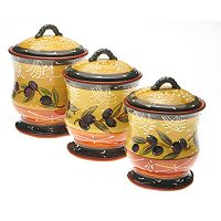 Certified International French Olives 3 pc Kitchen Canister Set