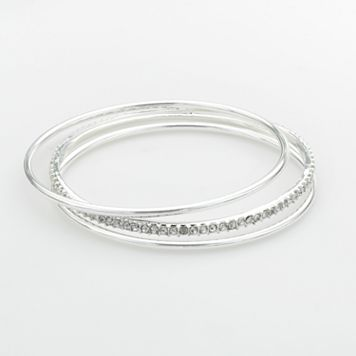 Chaps Silver-Tone Simulated Crystal Bangle Bracelet Set