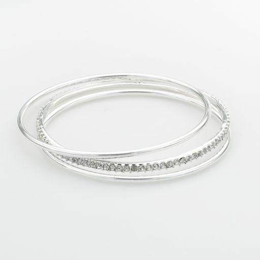 Chaps Silver-Tone Simulated Crystal Bangle Bracelet Set
